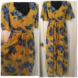Beautiful Blue And Yellow Roses Maxi Romper Dress
